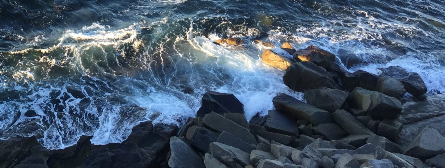 waves crash on a rocky shore