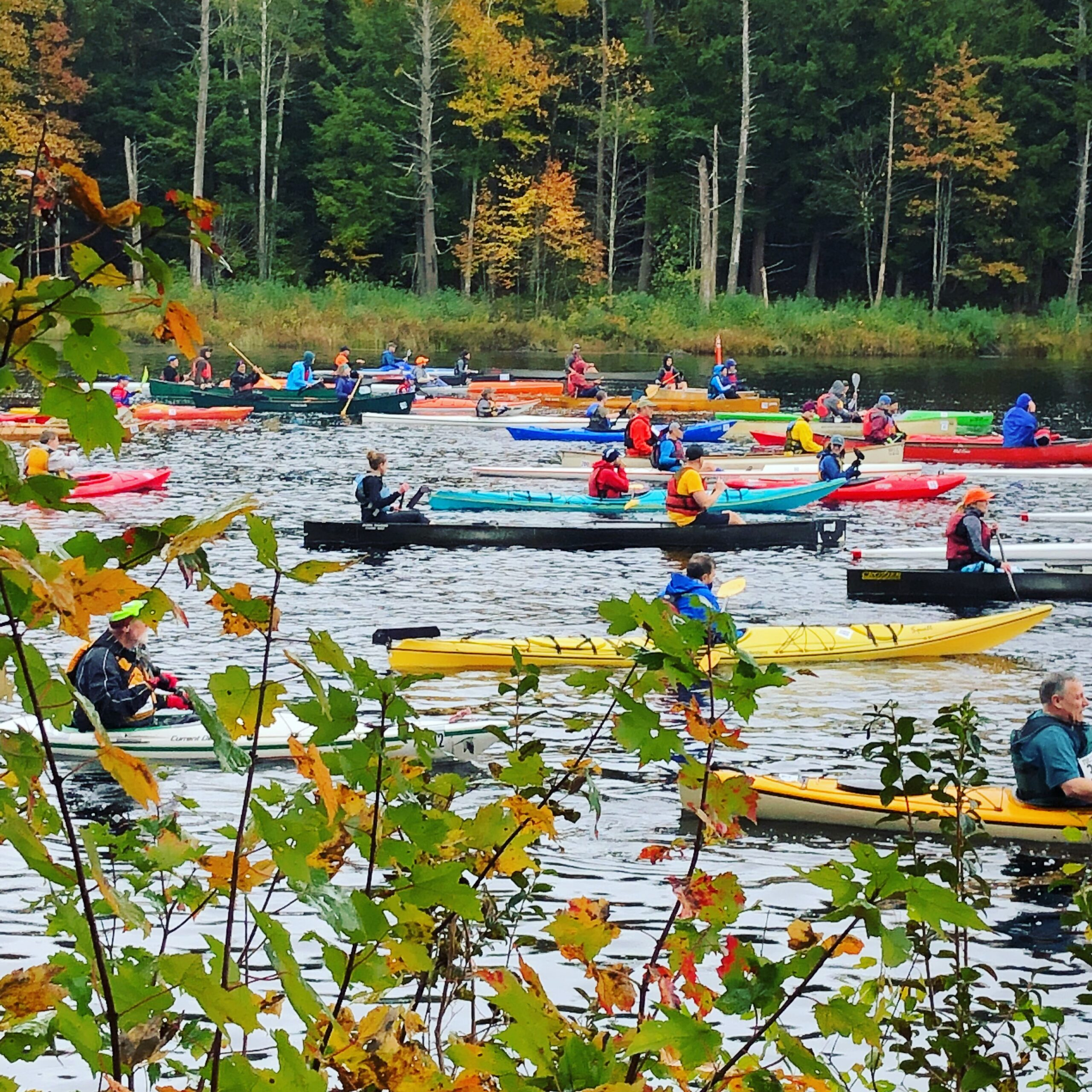 Kayakers line up for the Tully Lake Triathlon