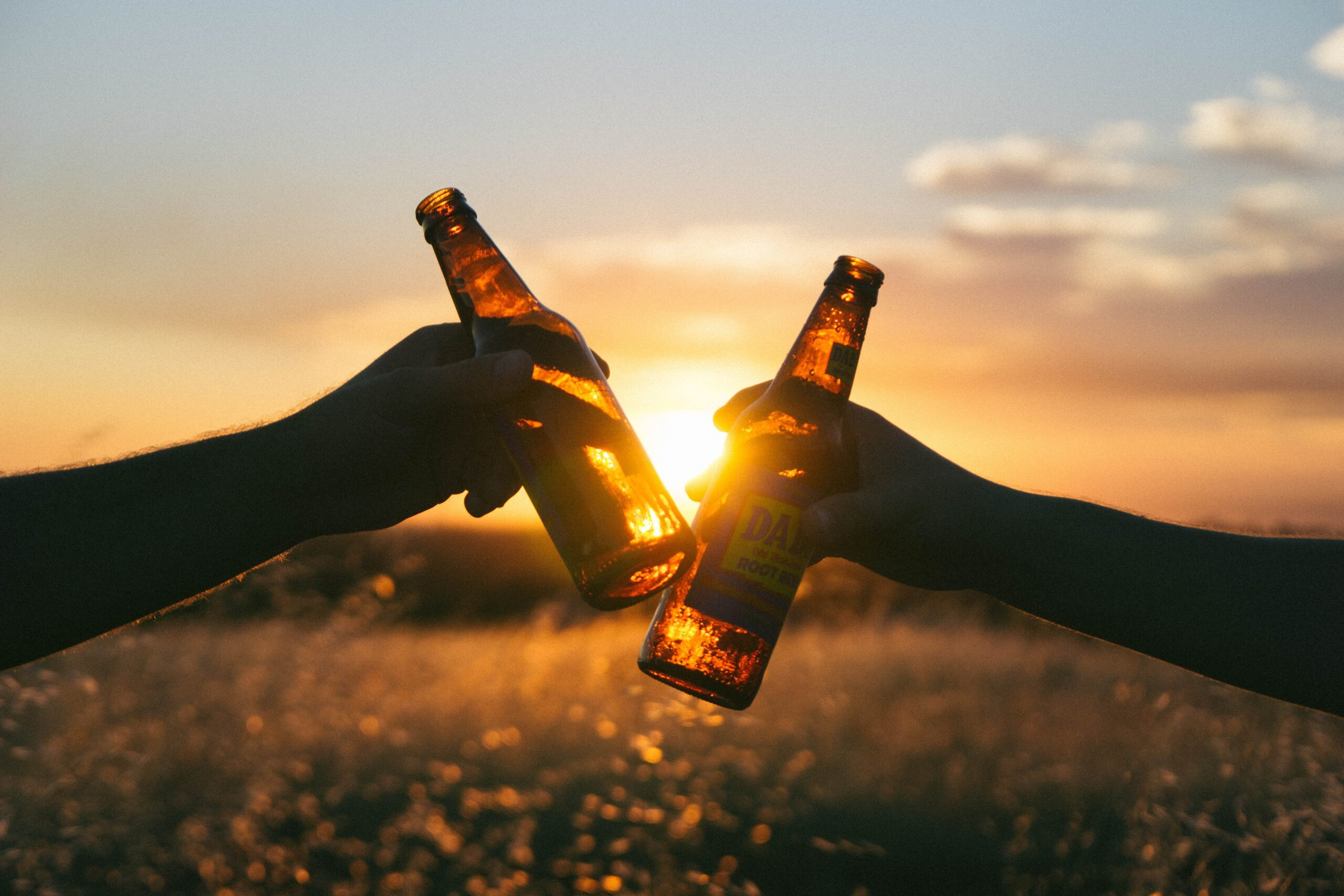 beer at sunset