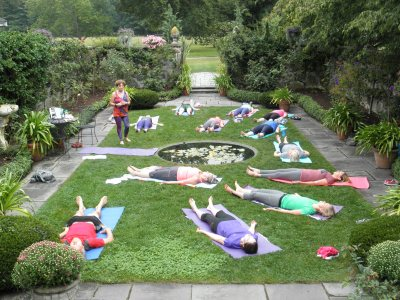 yoga in rose garden at SCP