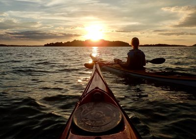 Kayaking Toward Choate Island at Sunset