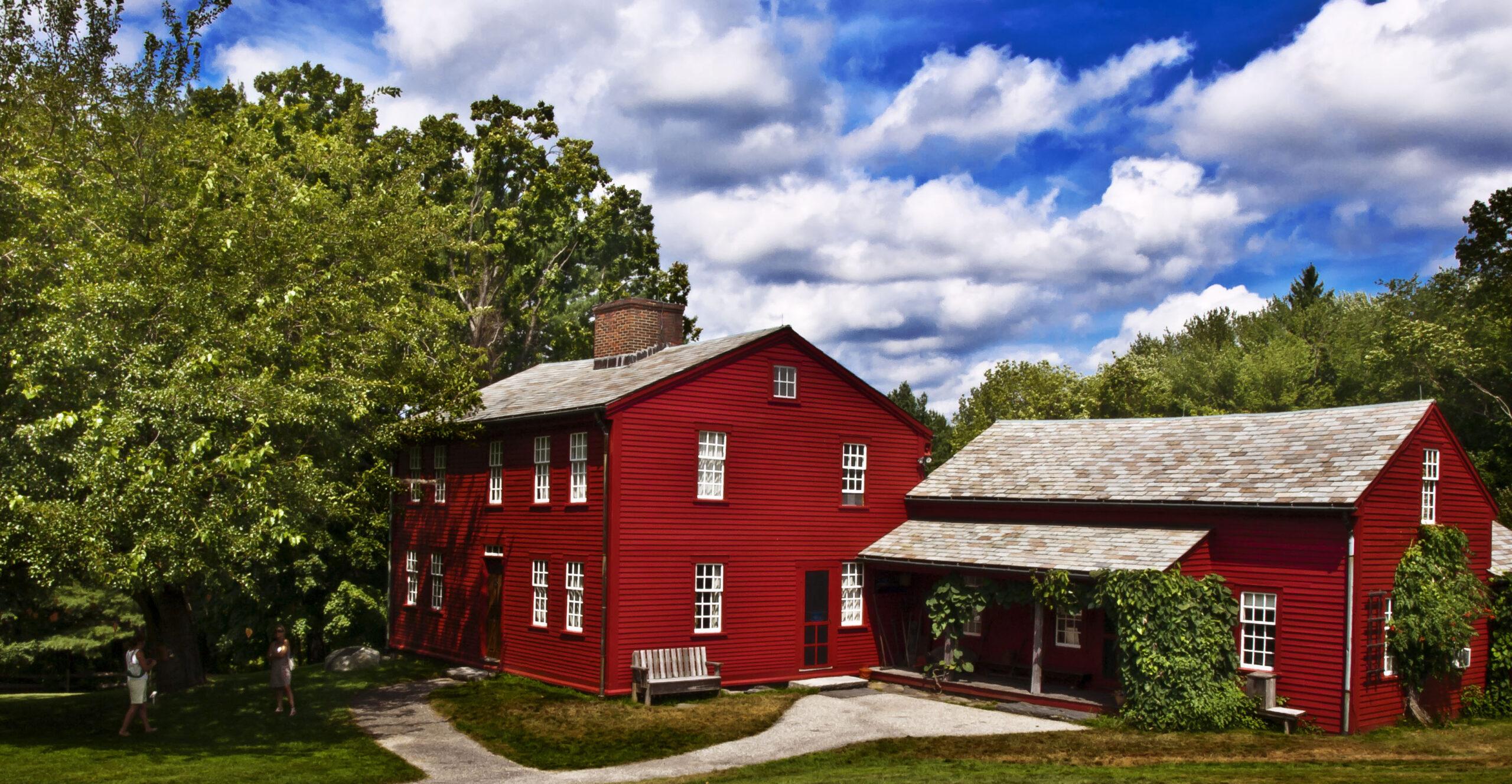 the red Alcott farm house