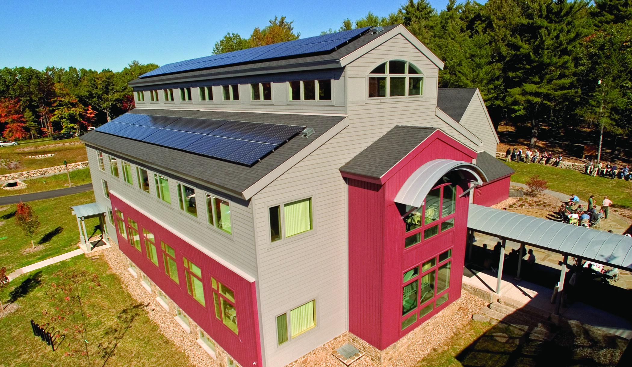Solar panels on LEED-certified building