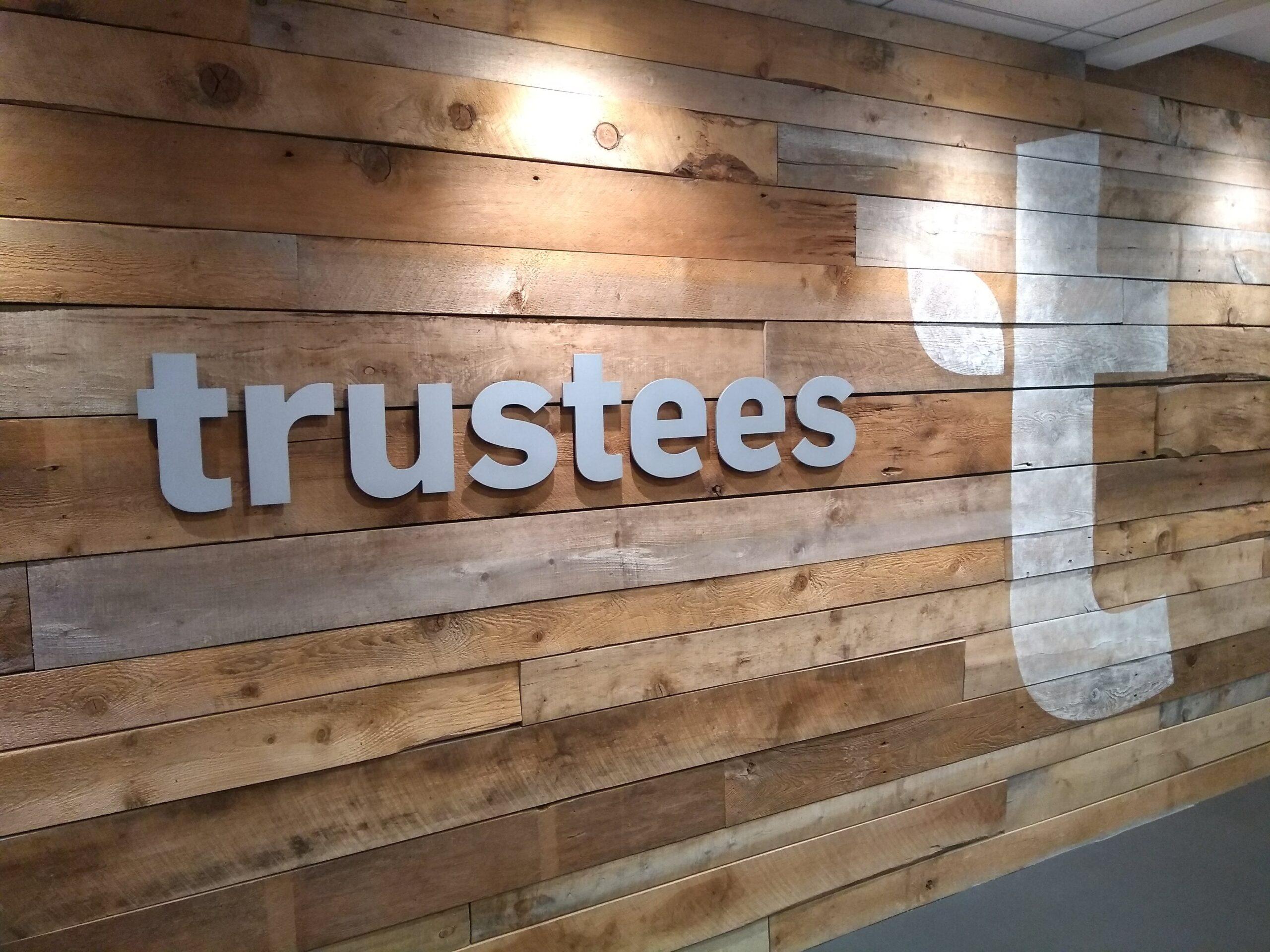 A shiplap wall in the Trustees Boston Office
