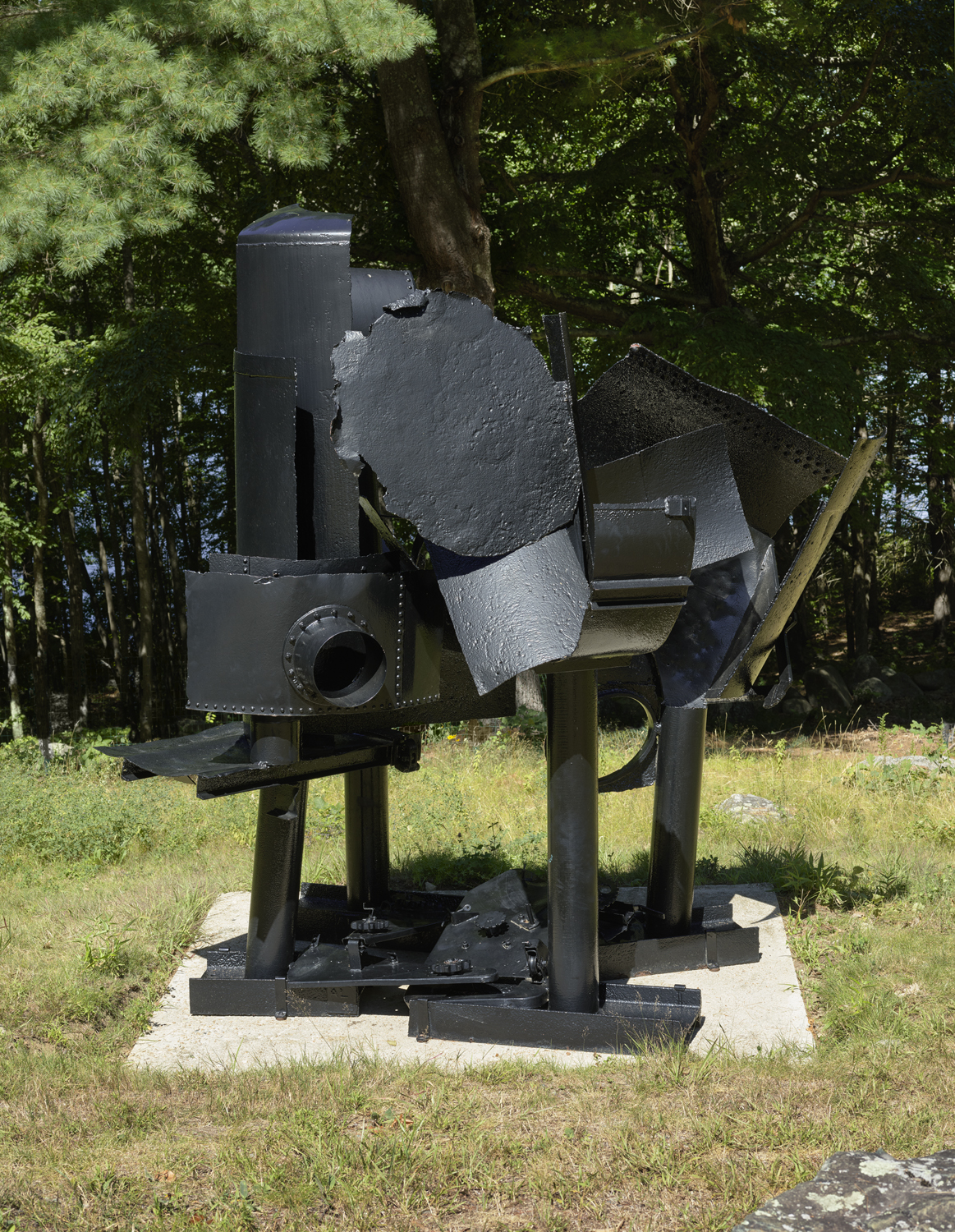 dark steel Sculpture with many patterns, in a field