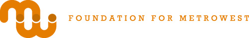 an orange logo for Foundation for Metro West
