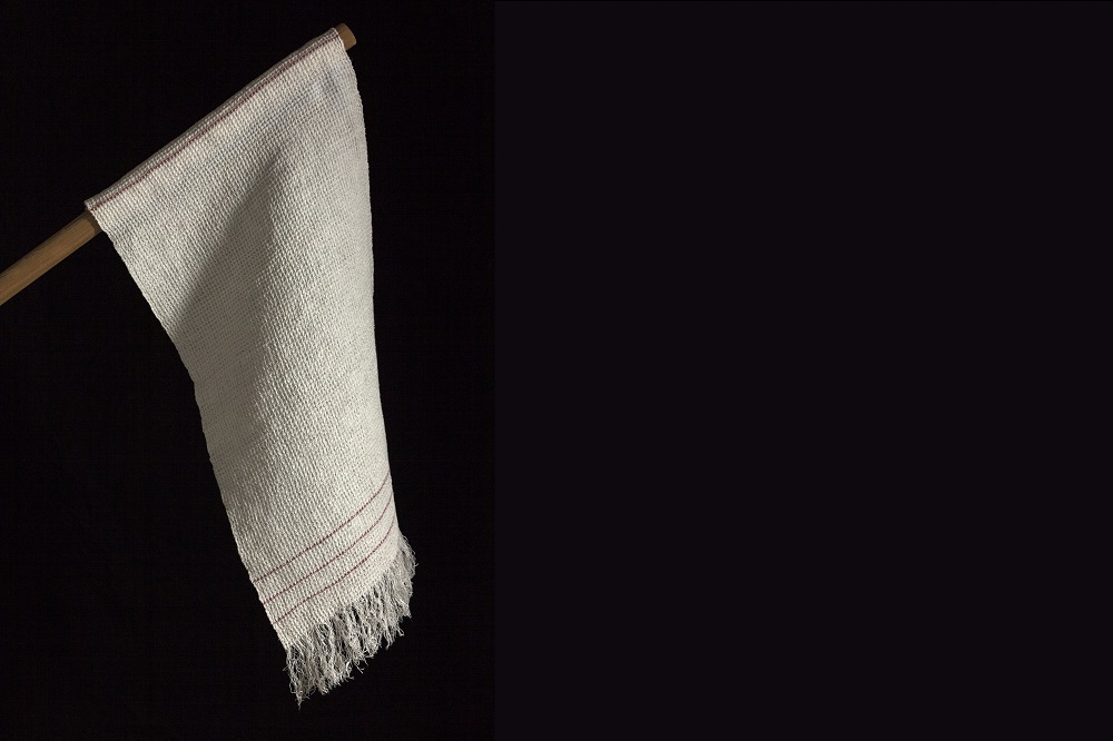 a white flag against a black background