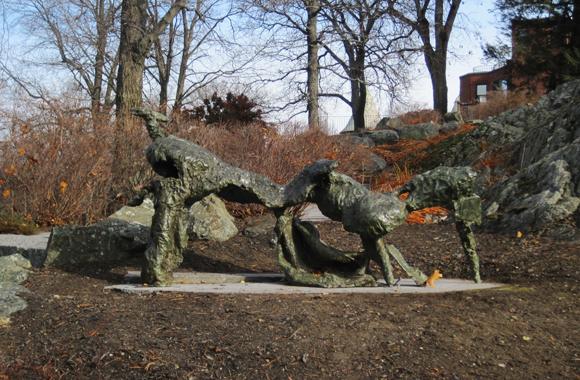a bronze abstract sculpture