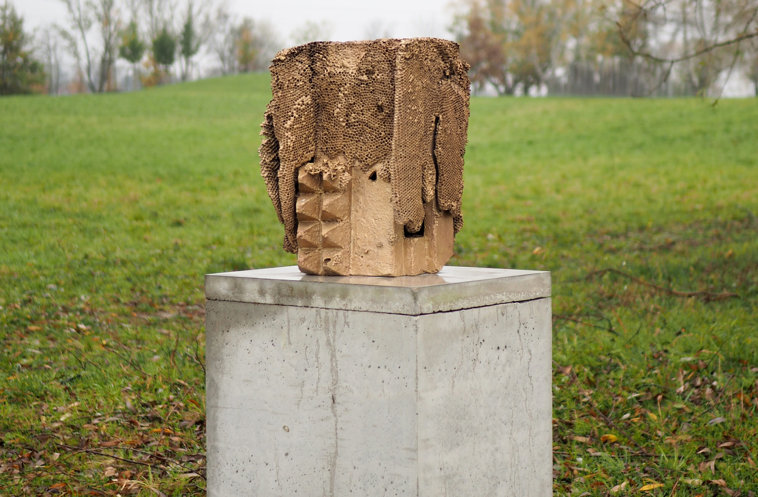 a sculpture that looks like a beehive