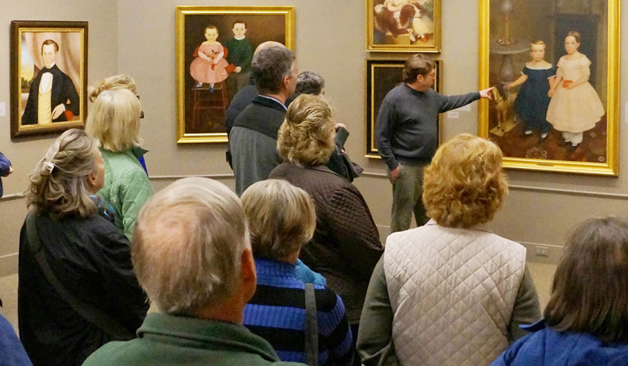guests enjoy an art gallery tour