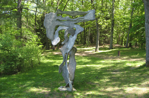 A figurative sculpture in the forest