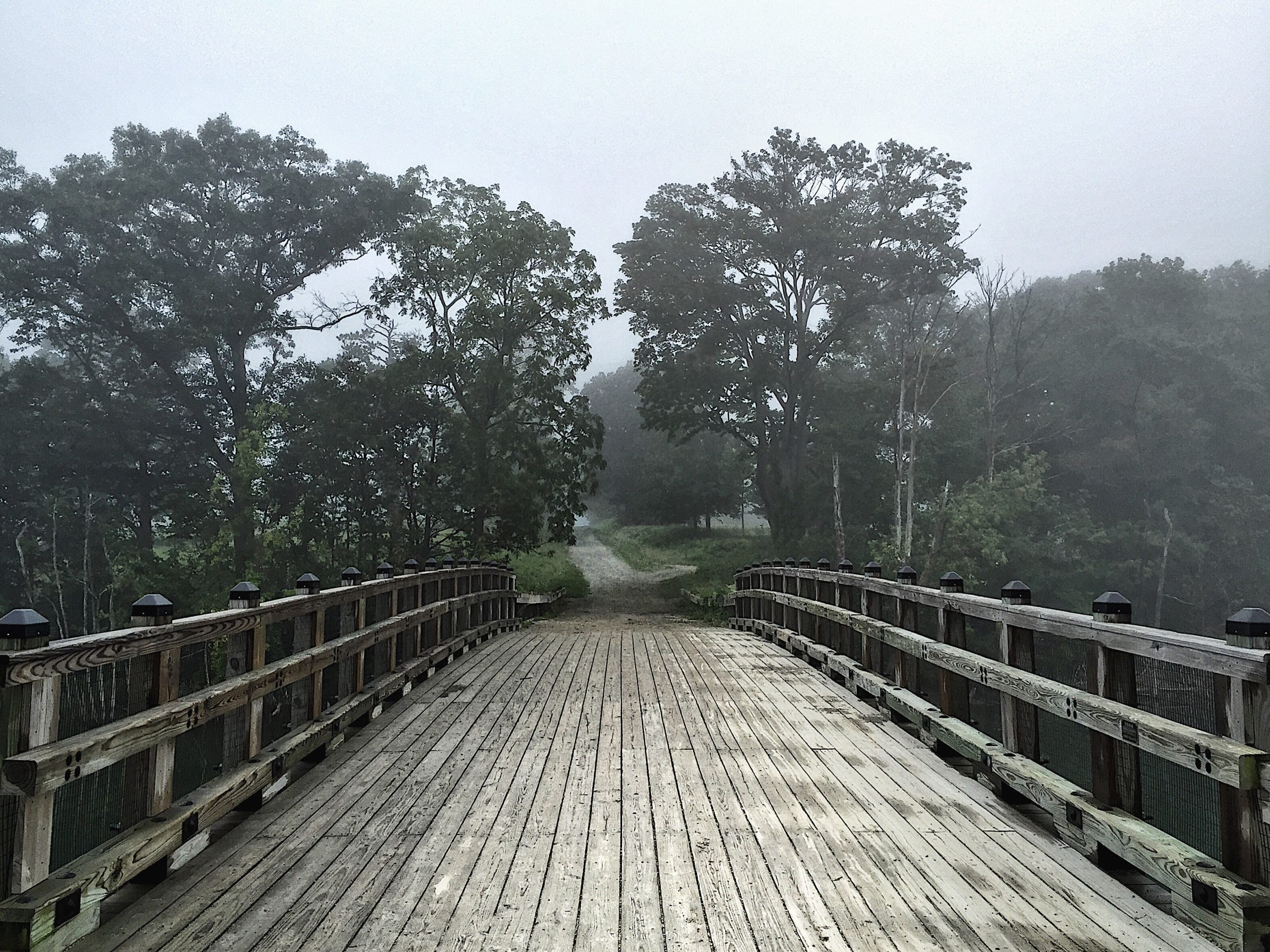 Photo of the bridge at World's End of a trail leading off into the distance. The weather is grey and foggy.