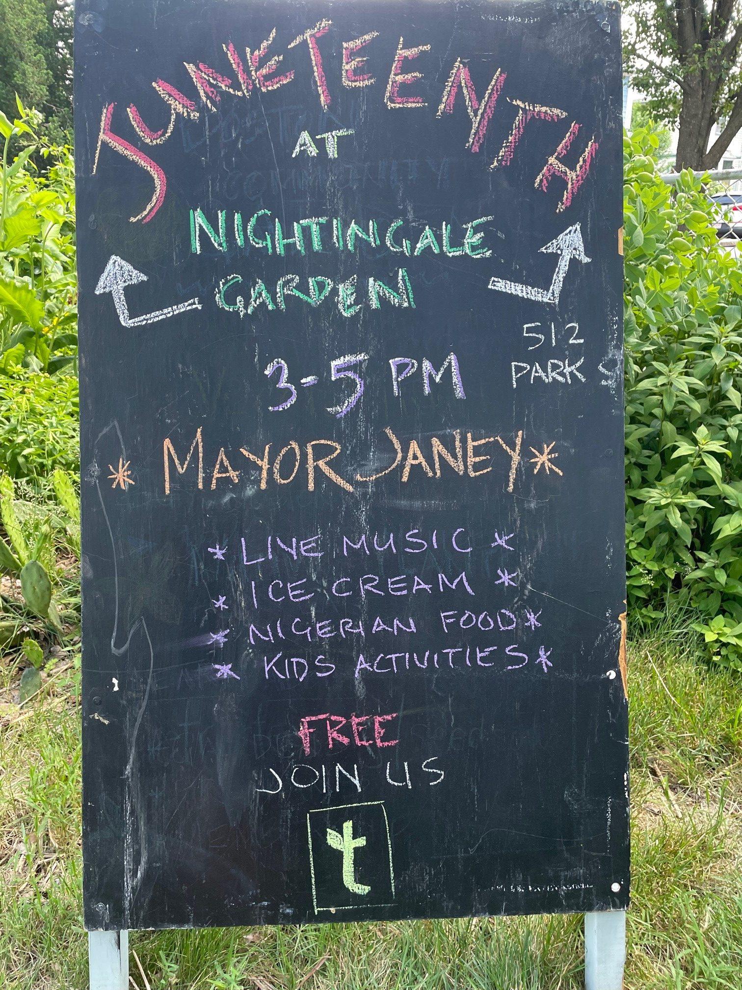 Chalkboard at Nightingale