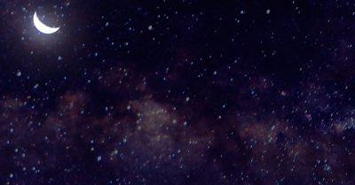 Moon and stars closeup