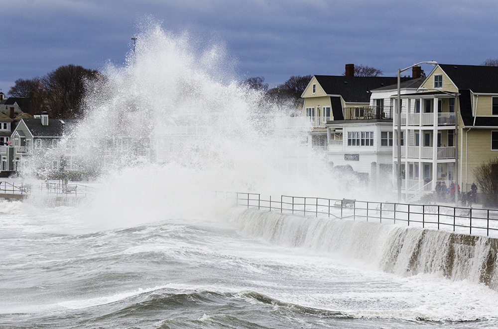 Lynn, MA/ USA March 03 2018 Winterstorm Riley hits Boston north shore wirth storm surge and flooding and high winds